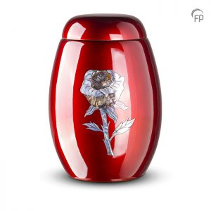 Glasfiber urn, met roos van parelmoer