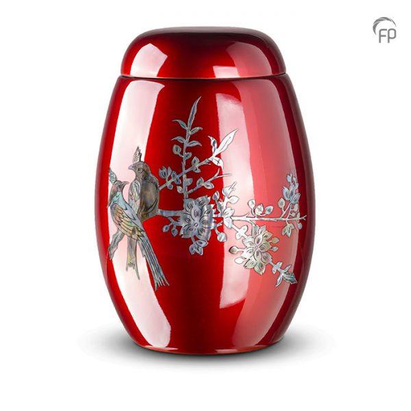 Glasfiber urn, met vogels van parelmoer.