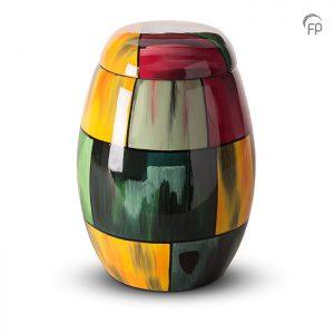 Glasfiber urn, multicolor geel