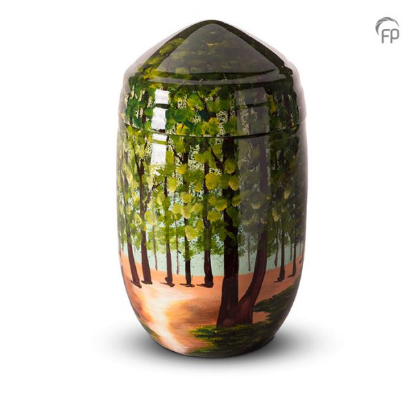 Glasfiber urn, bos beschildering.