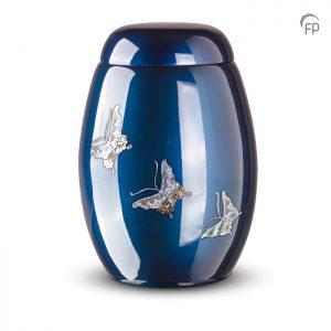 Glasfiber urn, met vlinders van parelmoer