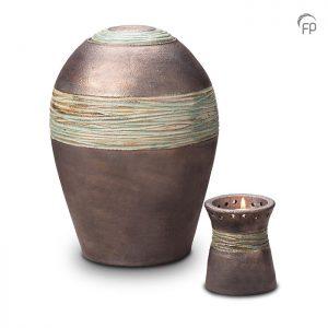 Keramische urnen, metallic zilver met jade band.