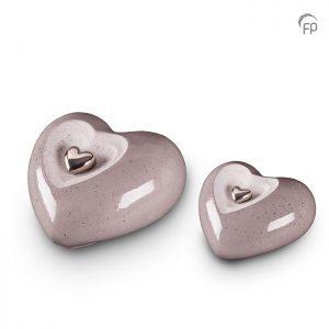 Keramische hart urnen, grijs met magnetisch afneembaar gouden hart