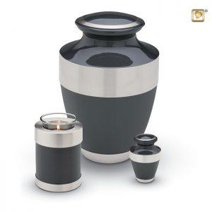 Messing urn, glanzendblauw/grijs met zilverkleurige messing band