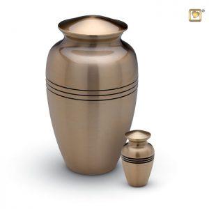 Messing urn, vaasvorm met matte bronskleur en drie zwarte strepen.