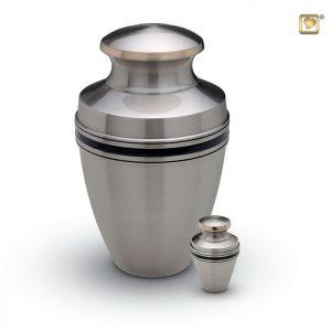 Messing urn, matte zilverkleur met zwarte band