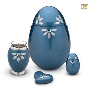Messing urn Nirvana Azure, blauw met GlossCoat™ en Swarovski elementen
