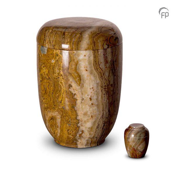 Marmeren urnen, roodbruin met witte tinten