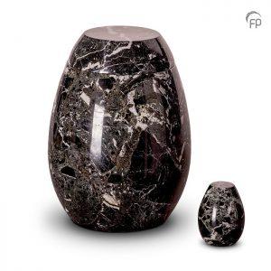 Marmeren urnen, zwart met witte tinten