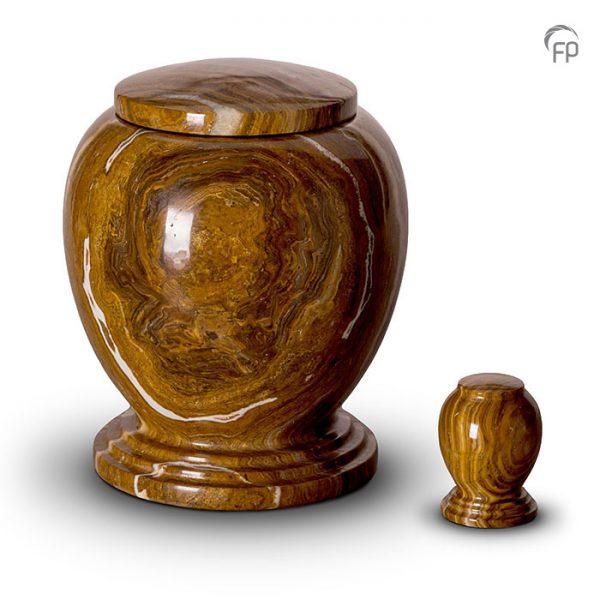 Marmeren urnen, vaas met voet roodbruin en witte tinten