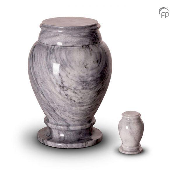 Marmeren urnen, vaas met voet grijs met witte en donkergrijze tinten