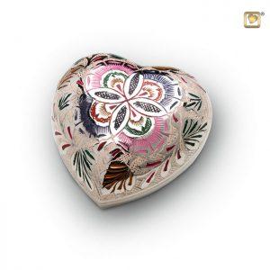 Messing urn hart, met bloemdecoratie