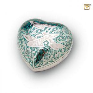 Messing urn hart, met vogeldecoratie