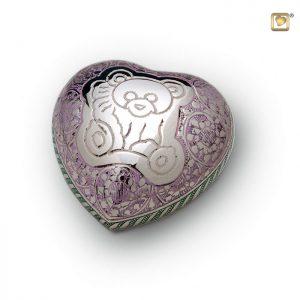 Messing urn hart, met teddybeer decoratie