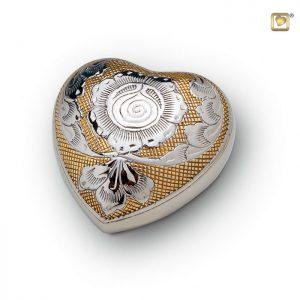 Messing urn hart, met zilveren bloem decoratie