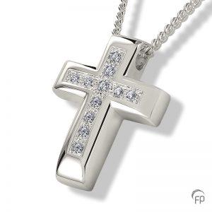 Ashanger glanzend kruis met steentjes