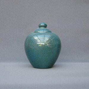 Keramische eigen ontwerp keepsake urn, Azuriet