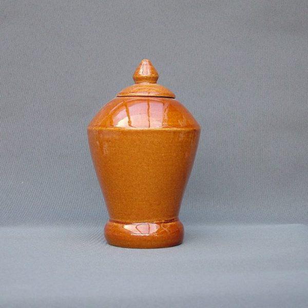 Keramische eigen ontwerp keepsake urn, Honingbruin