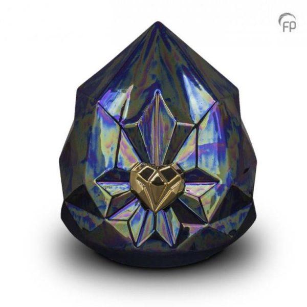 Keramische urnen blauw kristal met gouden hart
