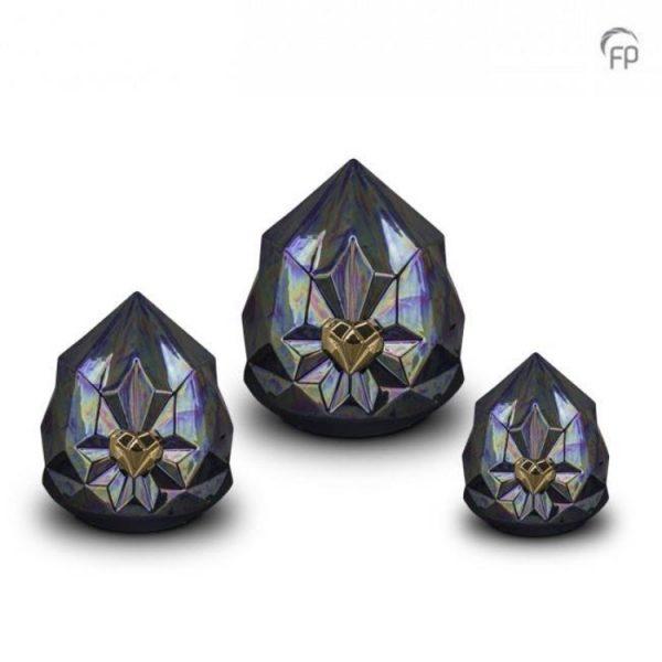 Keramische urnen, blauw kristal met gouden hart set