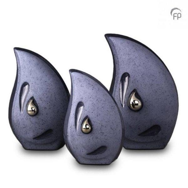 keramische urnen blauwe traan met zilveren traan set