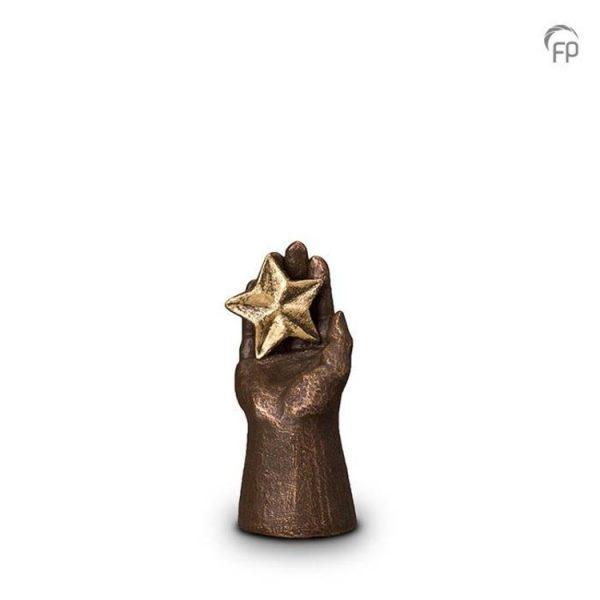 Keramische urn Hand met ster - mini