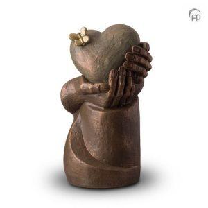 Keramische urn Hartepijn op zuil
