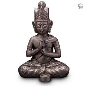 Keramische urn Boeddha Dai Nichi - waxine zilver