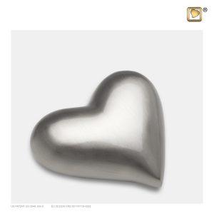 K601 - Mini Urn Hart Design Mat Zilver