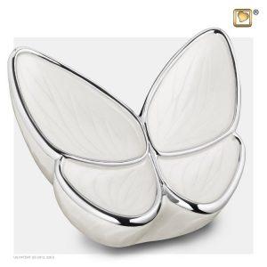 A1042 - Messing Urn Vlinder Parel Wit