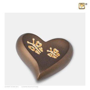 H543 - Mini Urn Hart Goudbruin Met Vlinders