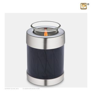 T523 - Urn Waxinelichthouder Zwart Gemarmerd - Mat Zilver