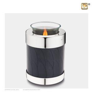 T666 - Urn Waxinelichthouder Zwart Gemarmerd - Glimmend Zilver