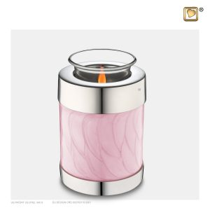 T667 - Urn Waxinelichthouder Roze Gemarmerd
