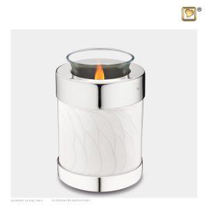 T671 - Urn Waxinelichthouder Wit Gemarmerd